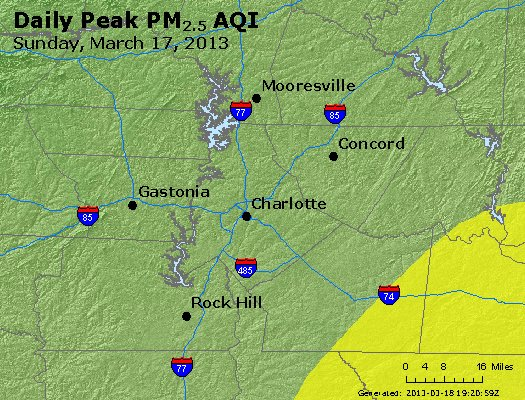 Peak Particles PM<sub>2.5</sub> (24-hour) - http://files.airnowtech.org/airnow/2013/20130317/peak_pm25_charlotte_nc.jpg