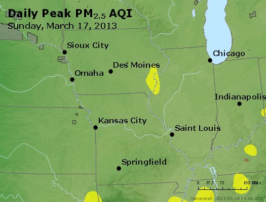 Peak Particles PM<sub>2.5</sub> (24-hour) - http://files.airnowtech.org/airnow/2013/20130317/peak_pm25_ia_il_mo.jpg