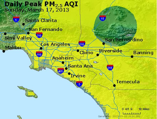 Peak Particles PM<sub>2.5</sub> (24-hour) - http://files.airnowtech.org/airnow/2013/20130317/peak_pm25_losangeles_ca.jpg