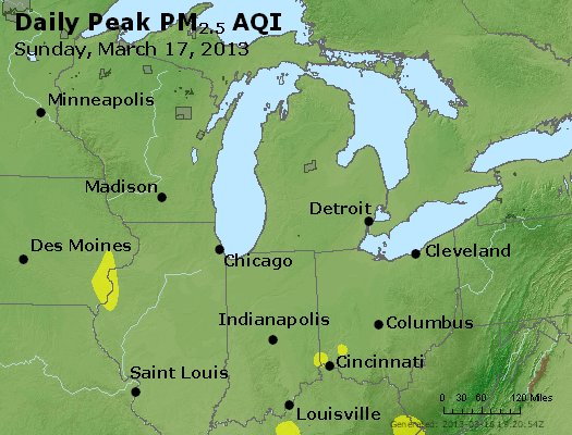 Peak Particles PM<sub>2.5</sub> (24-hour) - http://files.airnowtech.org/airnow/2013/20130317/peak_pm25_mi_in_oh.jpg