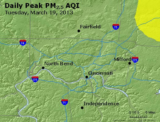Peak Particles PM<sub>2.5</sub> (24-hour) - http://files.airnowtech.org/airnow/2013/20130319/peak_pm25_cincinnati_oh.jpg
