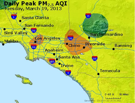 Peak Particles PM<sub>2.5</sub> (24-hour) - http://files.airnowtech.org/airnow/2013/20130319/peak_pm25_losangeles_ca.jpg