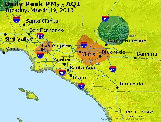 Peak Particles PM<sub>2.5</sub> (24-hour) - http://files.airnowtech.org/airnow/2013/20130319/peak_pm25_losangeles_ca.jpg