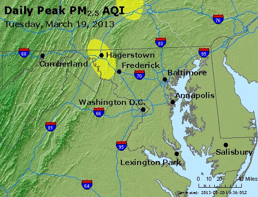 Peak Particles PM<sub>2.5</sub> (24-hour) - http://files.airnowtech.org/airnow/2013/20130319/peak_pm25_maryland.jpg