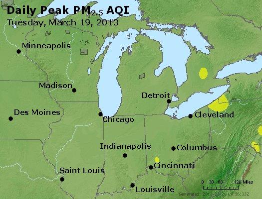 Peak Particles PM<sub>2.5</sub> (24-hour) - http://files.airnowtech.org/airnow/2013/20130319/peak_pm25_mi_in_oh.jpg