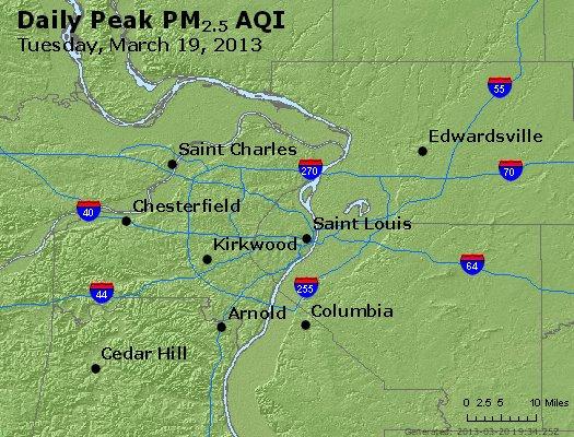 Peak Particles PM<sub>2.5</sub> (24-hour) - http://files.airnowtech.org/airnow/2013/20130319/peak_pm25_stlouis_mo.jpg