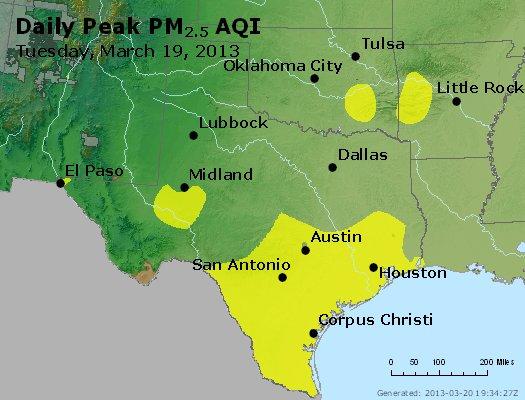 Peak Particles PM<sub>2.5</sub> (24-hour) - http://files.airnowtech.org/airnow/2013/20130319/peak_pm25_tx_ok.jpg