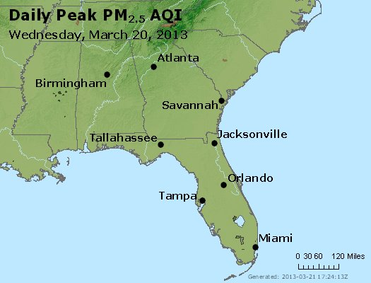 Peak Particles PM<sub>2.5</sub> (24-hour) - http://files.airnowtech.org/airnow/2013/20130320/peak_pm25_al_ga_fl.jpg