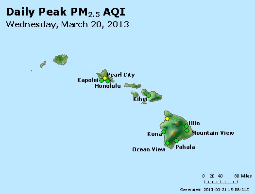 Peak Particles PM<sub>2.5</sub> (24-hour) - http://files.airnowtech.org/airnow/2013/20130320/peak_pm25_hawaii.jpg