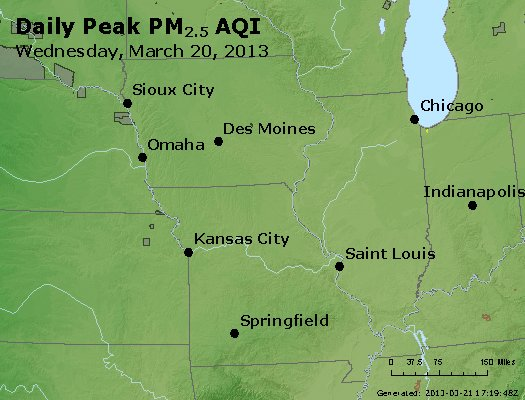 Peak Particles PM<sub>2.5</sub> (24-hour) - http://files.airnowtech.org/airnow/2013/20130320/peak_pm25_ia_il_mo.jpg