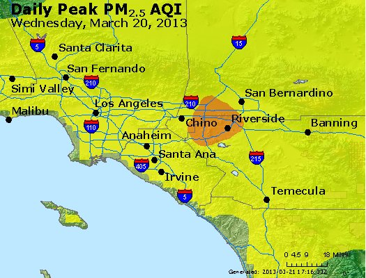 Peak Particles PM<sub>2.5</sub> (24-hour) - http://files.airnowtech.org/airnow/2013/20130320/peak_pm25_losangeles_ca.jpg