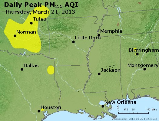 Peak Particles PM<sub>2.5</sub> (24-hour) - http://files.airnowtech.org/airnow/2013/20130321/peak_pm25_ar_la_ms.jpg