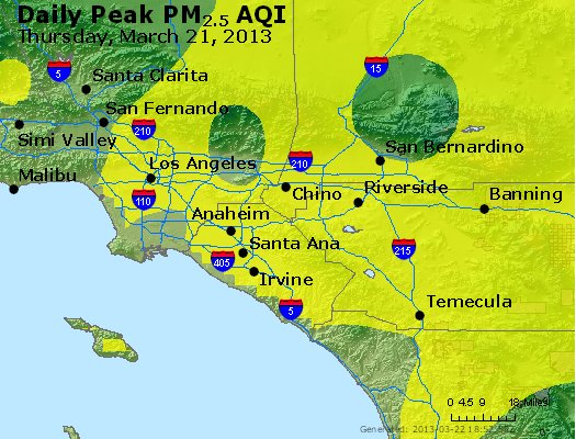 Peak Particles PM<sub>2.5</sub> (24-hour) - http://files.airnowtech.org/airnow/2013/20130321/peak_pm25_losangeles_ca.jpg
