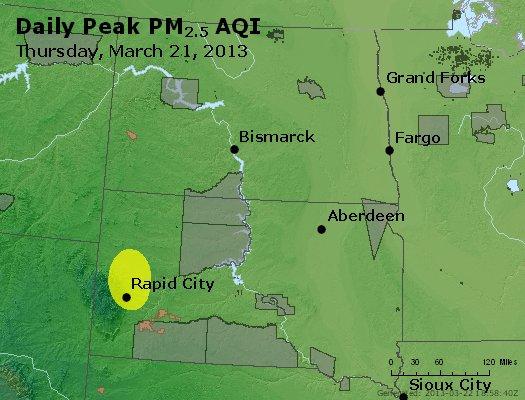 Peak Particles PM<sub>2.5</sub> (24-hour) - http://files.airnowtech.org/airnow/2013/20130321/peak_pm25_nd_sd.jpg
