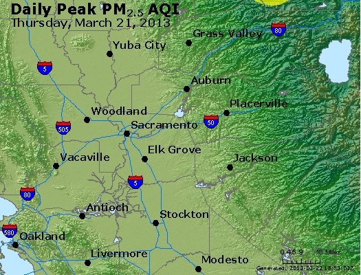 Peak Particles PM<sub>2.5</sub> (24-hour) - http://files.airnowtech.org/airnow/2013/20130321/peak_pm25_sacramento_ca.jpg