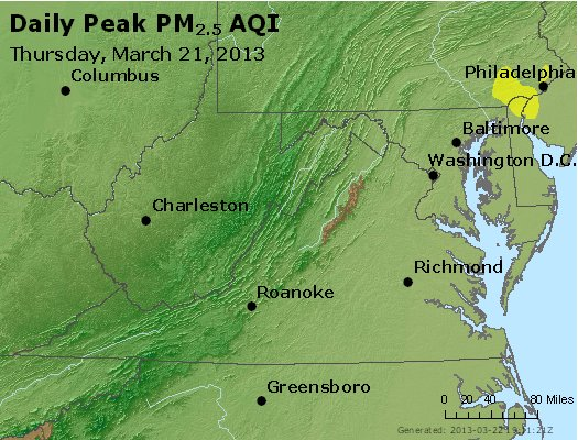 Peak Particles PM<sub>2.5</sub> (24-hour) - http://files.airnowtech.org/airnow/2013/20130321/peak_pm25_va_wv_md_de_dc.jpg