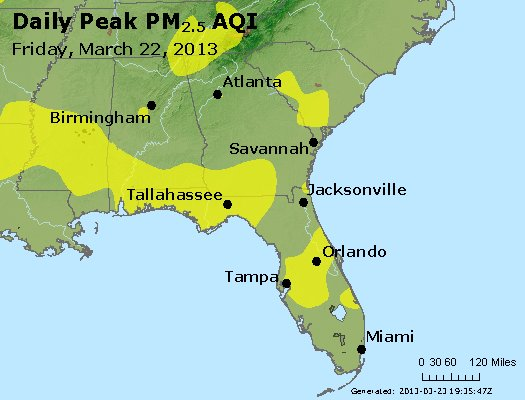 Peak Particles PM<sub>2.5</sub> (24-hour) - http://files.airnowtech.org/airnow/2013/20130322/peak_pm25_al_ga_fl.jpg