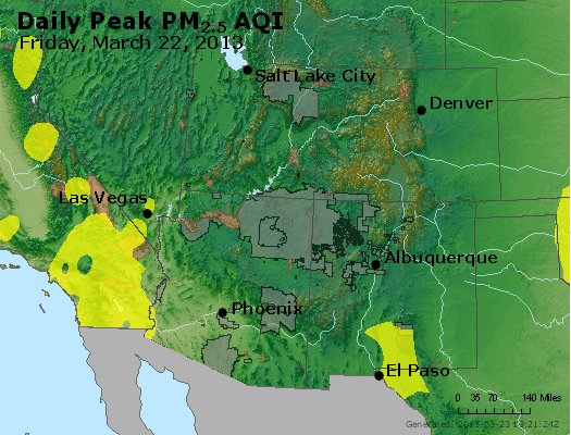 Peak Particles PM<sub>2.5</sub> (24-hour) - http://files.airnowtech.org/airnow/2013/20130322/peak_pm25_co_ut_az_nm.jpg