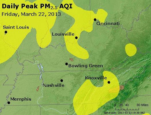 Peak Particles PM<sub>2.5</sub> (24-hour) - http://files.airnowtech.org/airnow/2013/20130322/peak_pm25_ky_tn.jpg