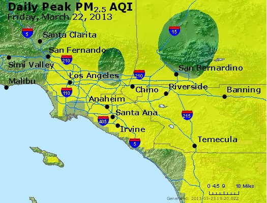 Peak Particles PM<sub>2.5</sub> (24-hour) - http://files.airnowtech.org/airnow/2013/20130322/peak_pm25_losangeles_ca.jpg