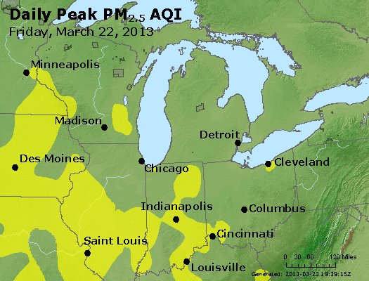 Peak Particles PM<sub>2.5</sub> (24-hour) - http://files.airnowtech.org/airnow/2013/20130322/peak_pm25_mi_in_oh.jpg
