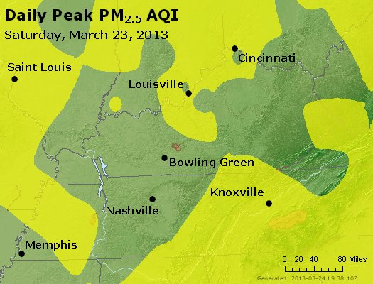 Peak Particles PM<sub>2.5</sub> (24-hour) - http://files.airnowtech.org/airnow/2013/20130323/peak_pm25_ky_tn.jpg