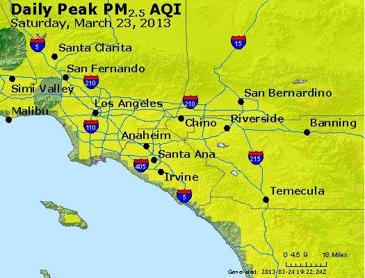 Peak Particles PM<sub>2.5</sub> (24-hour) - http://files.airnowtech.org/airnow/2013/20130323/peak_pm25_losangeles_ca.jpg