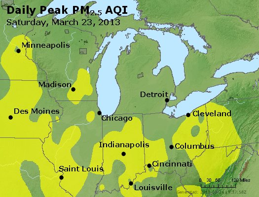 Peak Particles PM<sub>2.5</sub> (24-hour) - http://files.airnowtech.org/airnow/2013/20130323/peak_pm25_mi_in_oh.jpg