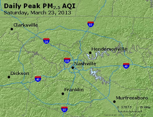 Peak Particles PM<sub>2.5</sub> (24-hour) - http://files.airnowtech.org/airnow/2013/20130323/peak_pm25_nashville_tn.jpg