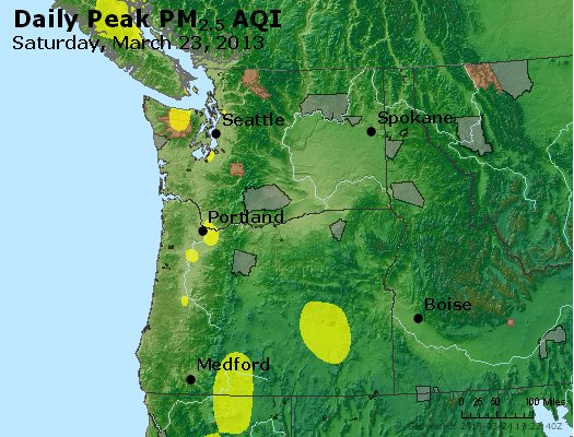 Peak Particles PM<sub>2.5</sub> (24-hour) - http://files.airnowtech.org/airnow/2013/20130323/peak_pm25_wa_or.jpg