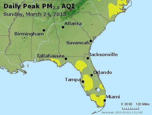 Peak Particles PM<sub>2.5</sub> (24-hour) - http://files.airnowtech.org/airnow/2013/20130324/peak_pm25_al_ga_fl.jpg