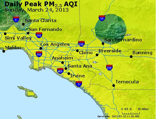 Peak Particles PM<sub>2.5</sub> (24-hour) - http://files.airnowtech.org/airnow/2013/20130324/peak_pm25_losangeles_ca.jpg