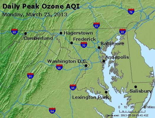 Peak Ozone (8-hour) - http://files.airnowtech.org/airnow/2013/20130325/peak_o3_maryland.jpg