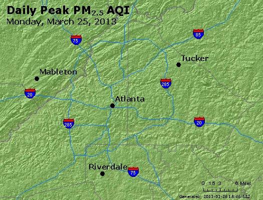 Peak Particles PM<sub>2.5</sub> (24-hour) - http://files.airnowtech.org/airnow/2013/20130325/peak_pm25_atlanta_ga.jpg