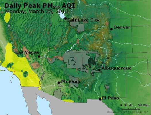 Peak Particles PM<sub>2.5</sub> (24-hour) - http://files.airnowtech.org/airnow/2013/20130325/peak_pm25_co_ut_az_nm.jpg