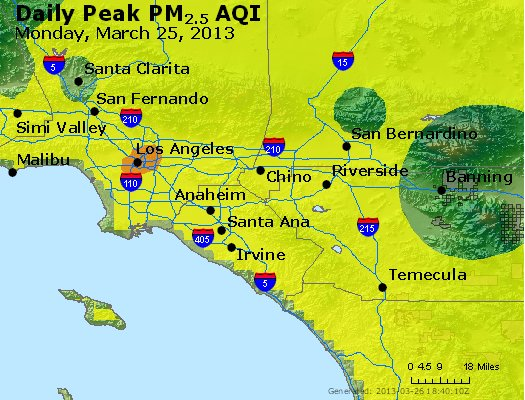 Peak Particles PM<sub>2.5</sub> (24-hour) - http://files.airnowtech.org/airnow/2013/20130325/peak_pm25_losangeles_ca.jpg