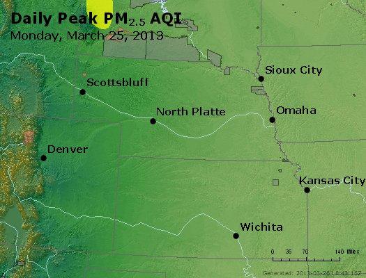 Peak Particles PM<sub>2.5</sub> (24-hour) - http://files.airnowtech.org/airnow/2013/20130325/peak_pm25_ne_ks.jpg