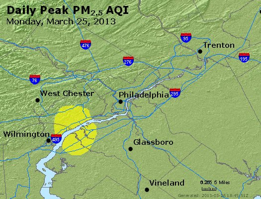 Peak Particles PM<sub>2.5</sub> (24-hour) - http://files.airnowtech.org/airnow/2013/20130325/peak_pm25_philadelphia_pa.jpg