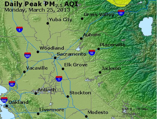 Peak Particles PM<sub>2.5</sub> (24-hour) - http://files.airnowtech.org/airnow/2013/20130325/peak_pm25_sacramento_ca.jpg
