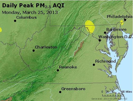 Peak Particles PM<sub>2.5</sub> (24-hour) - http://files.airnowtech.org/airnow/2013/20130325/peak_pm25_va_wv_md_de_dc.jpg