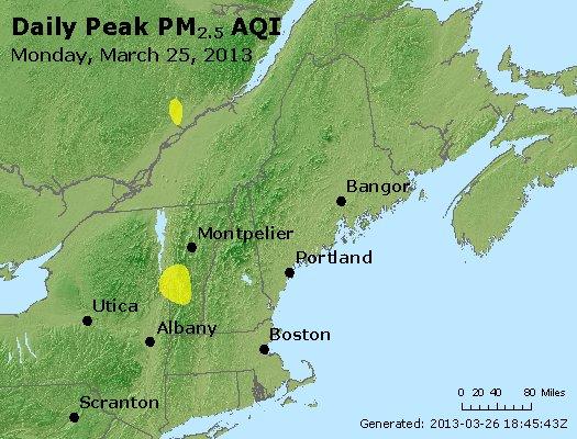 Peak Particles PM<sub>2.5</sub> (24-hour) - http://files.airnowtech.org/airnow/2013/20130325/peak_pm25_vt_nh_ma_ct_ri_me.jpg