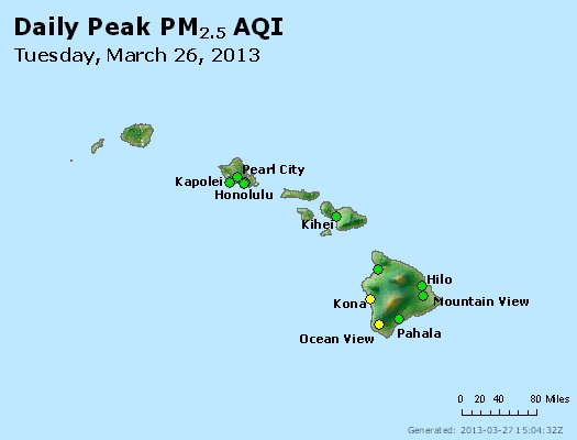 Peak Particles PM<sub>2.5</sub> (24-hour) - http://files.airnowtech.org/airnow/2013/20130326/peak_pm25_hawaii.jpg