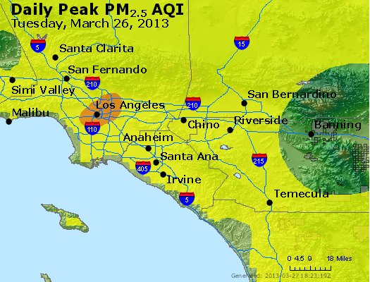 Peak Particles PM<sub>2.5</sub> (24-hour) - http://files.airnowtech.org/airnow/2013/20130326/peak_pm25_losangeles_ca.jpg