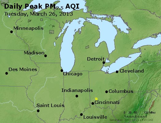 Peak Particles PM<sub>2.5</sub> (24-hour) - http://files.airnowtech.org/airnow/2013/20130326/peak_pm25_mi_in_oh.jpg