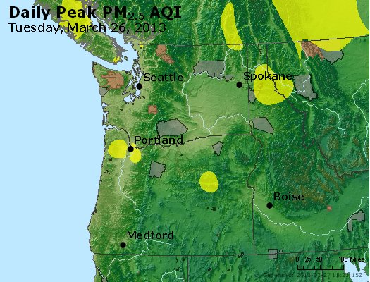 Peak Particles PM<sub>2.5</sub> (24-hour) - http://files.airnowtech.org/airnow/2013/20130326/peak_pm25_wa_or.jpg