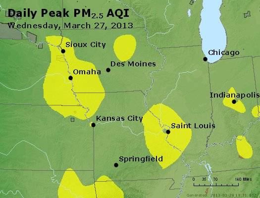 Peak Particles PM<sub>2.5</sub> (24-hour) - http://files.airnowtech.org/airnow/2013/20130327/peak_pm25_ia_il_mo.jpg