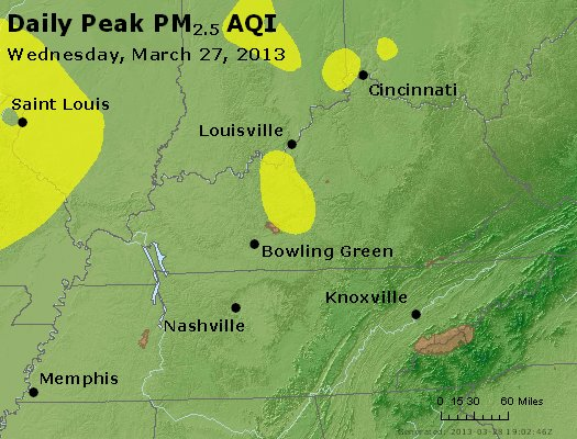 Peak Particles PM<sub>2.5</sub> (24-hour) - http://files.airnowtech.org/airnow/2013/20130327/peak_pm25_ky_tn.jpg