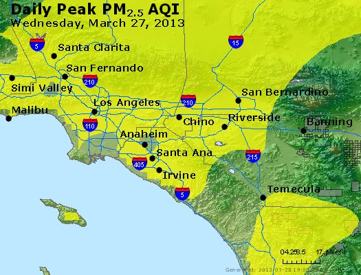 Peak Particles PM<sub>2.5</sub> (24-hour) - http://files.airnowtech.org/airnow/2013/20130327/peak_pm25_losangeles_ca.jpg