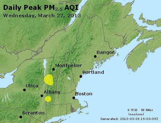 Peak Particles PM<sub>2.5</sub> (24-hour) - http://files.airnowtech.org/airnow/2013/20130327/peak_pm25_vt_nh_ma_ct_ri_me.jpg