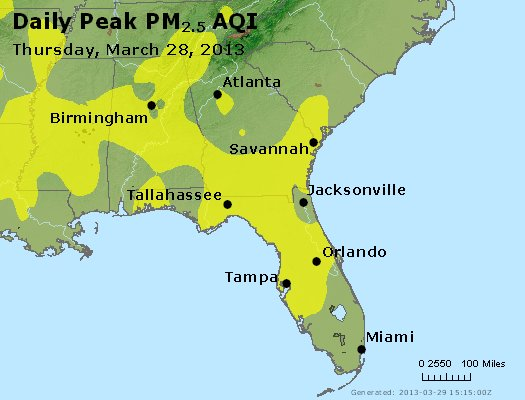 Peak Particles PM<sub>2.5</sub> (24-hour) - http://files.airnowtech.org/airnow/2013/20130328/peak_pm25_al_ga_fl.jpg